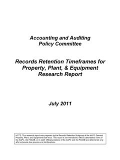 Records Retention Timeframes for Property, Plant ...