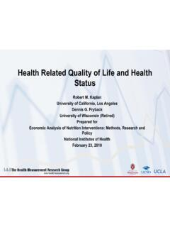 Health Related Quality of Life and Health Status