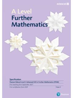 A Level Further Mathematics - Pearson qualifications
