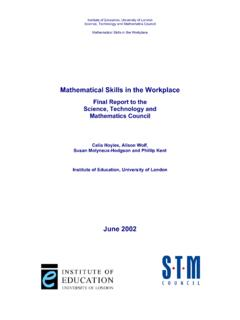 Mathematical Skills in the Workplace