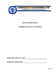 APPLICATION FORM CARIBBEAN COURT OF JUSTICE