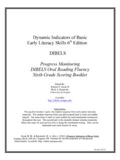 Progress Monitoring DIBELS Oral Reading Fluency Sixth ...