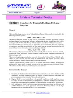 Lithium Technical Notice - Tadiran Batteries