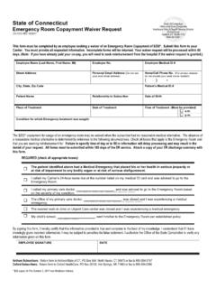 State of Connecticut Emergency Room Copayment Waiver ...