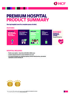 PREMIUM HOSPITAL PRODUCT SUMMARY - Health funds
