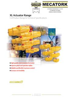 XL Actuator Range - mecatork.fr