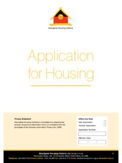 Application for Housing - Aboriginal Housing Victoria