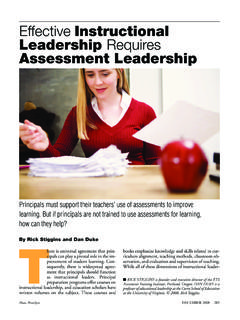 Effective Instructional Leadership Requires …