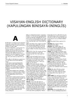 VISAYAN-ENGLISH DICTIONARY (KAPULÚNGAN …