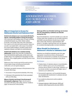 ADOLESCENT ALCOHOL AND SUBSTANCE USE AND ABUSE