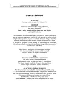 OWNER'S MANUAL - Raleigh USA