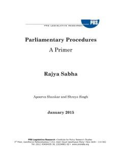 Parliamentary Procedures: A Primer - PRS | Home