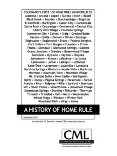 ColoraDo's first 100 home rule muNiCiPalities