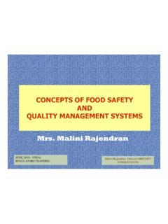 CONCEPTS OF FOOD SAFETY AND QUALITY …