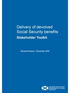 Delivery of devolved Social Security benefits: Stakeholder ...