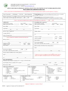 Application for Watercraft Certificate of Title and ...