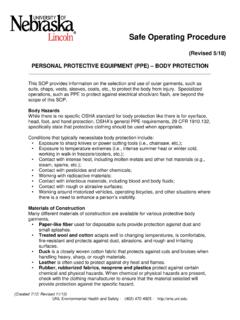 PERSONAL PROTECTIVE EQUIPMENT (PPE) – BODY …