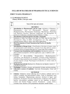 SYLLABI OF BACHELOR OF PHARMACEUTICAL …