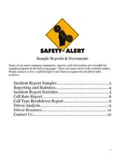 Sample Reports & Documents Incident Report …