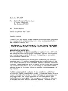 PERSONAL INJURY FINAL NARRATIVE REPORT