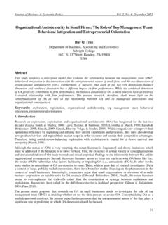 Organizational Ambidexterity in Small Firms: The Role of ...