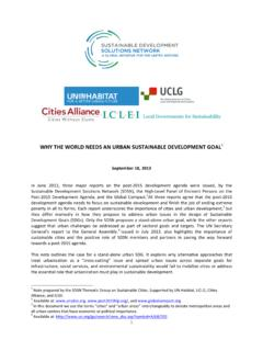 130918 SDSN Why the World Needs an Urban SDG