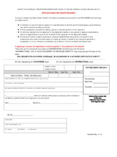 APPLICATION FOR DEATH RECORD - Los Angeles County ...