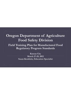 Oregon Department of Agriculture Food Safety Division