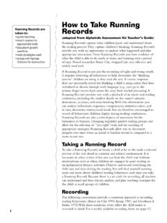 How to Take Running Running Records are taken to: Records