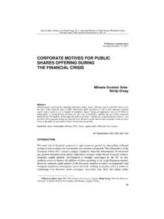 CORPORATE MOTIVES FOR PUBLIC SHARES OFFERING …