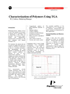 Characterization of Polymers Using TGA