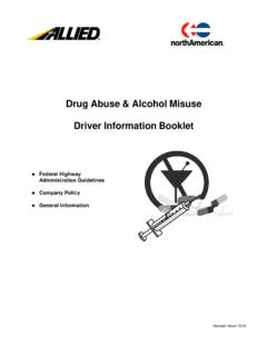 Drug Abuse & Alcohol Misuse Driver Information Booklet