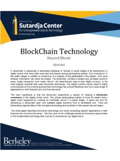 BlockChain Technology - UC Berkeley Sutardja Center