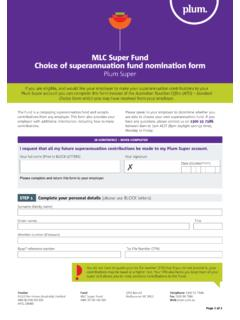 MLC Super Fund Choice of superannuation fund ...  …