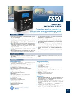 F650 Feeder/Bay Protection System - RME