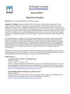 Research Brief High School Schedules - oemanagement.com