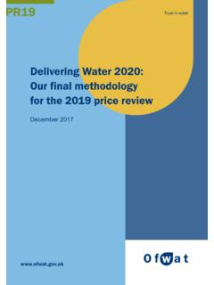 Delivering Water 2020: Our final methodology for the 2019 ...