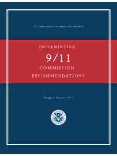 Implementing 9/11 Commission Recommendations Progress ...