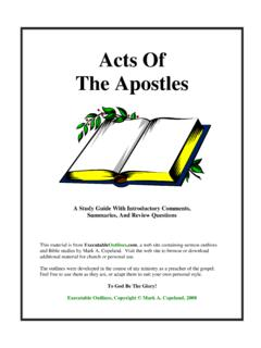 Acts Of The Apostles - Free sermon outlines and Bible studies!