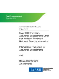 ISAE 3000 (Revised), Assurance Engagements Other than ...