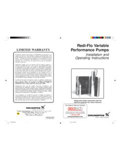 LIMITED WARRANTY Redi-Flo Variable LIMITED …