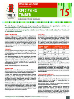 TECHNICAL DATA SHEET ISSUED BY TIMBER QUEENSLAND ...