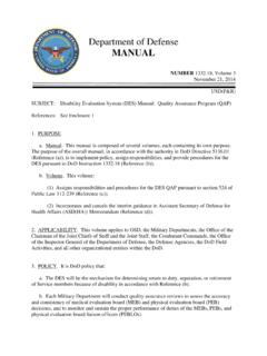 Department of Defense MANUAL - DoD Warrior Care