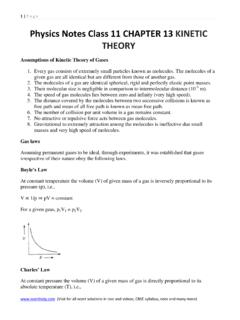 Physics Notes Class 11 CHAPTER 13 KINETIC THEORY