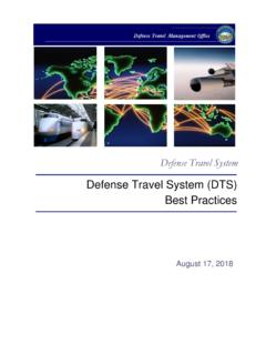 Defense Travel System (DTS) Best Practices