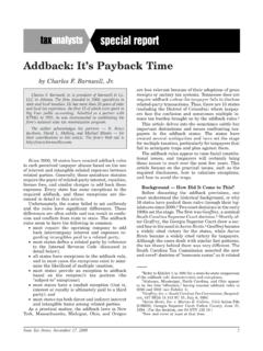 Addback: It's Payback Time - barnwellco.com