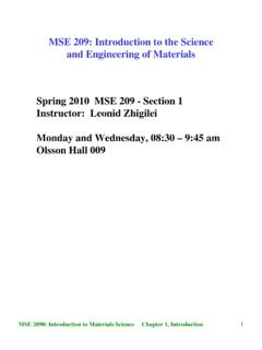 MSE 209: Introduction to the Science and …