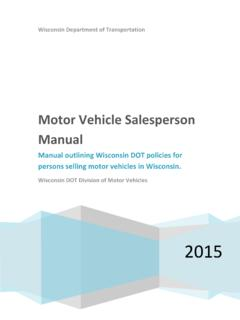 Motor Vehicle Salesperson Manual - wisconsindot.gov
