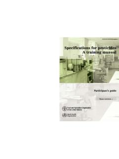 Specifications for pesticides: a training manual ...