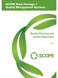 SCOPE Work Package 7 Quality Management Systems